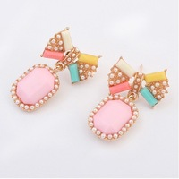 New 2014 Wholesale Items Noble Artificial Pearl And Diamond Stud Earrings For Women Ladies Girls Pink#105125