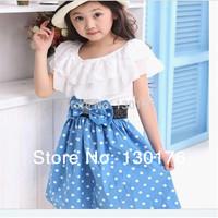 Girls Dress Rushed Peppa New 2014 Girl Dress free Shipping 1pcs Retail 3~11age Woven Navy/white Knee Length Princess Casual