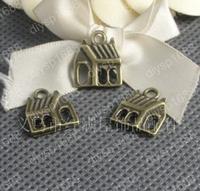 50 pcs/lot Zinc alloy bead Antique Bronze Plated 15*13MM Small house Charms Pendants Fit Jewelry Making DIY JJA1982