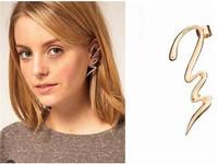 Punk Rock Gold Silver Metal Snake Waviness Right Ear Cuff Stud Clip Earrings For Pierced Lady 24pcs/lot