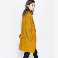 One button mustard yellow dream overcoat wool belt medium-long outerwear double pocket haoduoyi Y8P1 TP