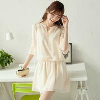 free shipping 2014 spring chiffon dress summer women's elegant elbow-length sleeve slim waist one-piece dress