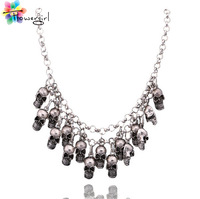 2014 Fashion Chain Skull Women Statement Necklace [N017]