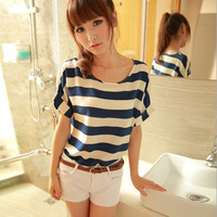 2014 New Arrive chiffon women t-shirt print stripe t shirt casual cute tees Fashion tshirt  blouses tops 8280