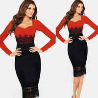 Stitching long-sleeved dress sexy lace summer women dress PROM queen dress S/M/L/XL 1PCS free shipping