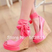 Summer women's shoes sexy platform open toe platform wedges shoe single shoes wedding shoes fushia platform high-heeled shoes