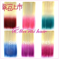 New 1pc 12  Colors 22inch Rainbow Women Hair Extensions Synthetic dyeing 5 Clips in on  613 to colors gradient free shipping