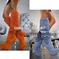 Designer women perforation sandal boots blue grey orange suede gladiator knee high boots summer platform high heel shoes