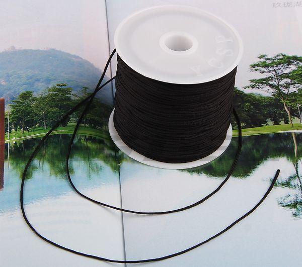 free shipping ! 40m jewelry ExclusiveBlack Nylon Rattail Chinese Knot Cord Thread 1mm(China (Mainland))