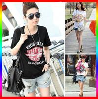 Hot sale!!! Free shipping New 2014 Fashion Good Quality Cotton T Shirt Women Tops Round T-shirts tee shirts for women D084