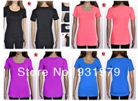 Free shipping NWT LULU cheap women yoga tees, women candy color yoga/sport/casual short tees, Solid woman tees