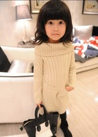 1pieceCable Knit 2014 Korean girls spring dress turtleneck sweater knitting children's clothesJ145
