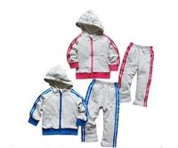 Retail 2014 new boy and girls brand velvet set boys brand clothing suit hoodie + pant best christmas gift for children