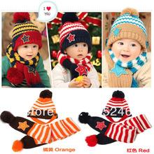 Girls Boy Kids Baby Smile Stars Striped Hat+ Scarf Set Christmas Beanie Cap 1-4Years Dropshipping Free Shipping(China (Mainland))