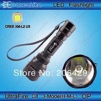 1800LM 3-Mode (Hight/Medium/Low) UltraFire C8 CREE XM-L2 U3 OP LED  Flashlight