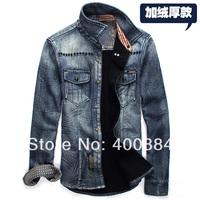 Free shipping 2014 new fashion winter warm  leisure men's wear man jeans shirt brand man long sleeve Cowboy shirt