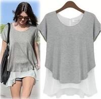 NEW 2014 fashion women girl casual clothing shirts t-shirts tops tee women blouse chiffon False two chiffon split girl shirts WA