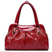 NEW BLACK/RED Women Real Genuine Leather Crocodile Print Shoulder Tote Bag Handbag