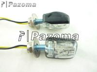 Pazoma Motorcycle Turn Signal Lights Blinker Mini LED Black Stalk Bike Flasher Marker 2