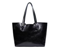 NEW Blue/Black Real Genuine Cowhide Leather Women Handbag Tote Shopper Shoulder Bag