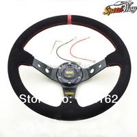 OMP Steering wheel ID 14inch volante Deep Corn Drifting racing Steering Wheel Suede Leather PVC