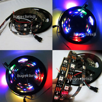 free shipping 5M 150leds Black PCB New Version WS2812B WS2811 WS2812 Digital 5050 RGB LED Strip DC5V