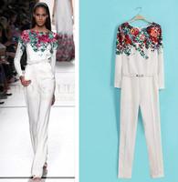 women jumpsuits 2014 summer fashion ladies print  bodysuits overalls with belt  white   plus size