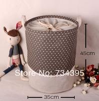 zakka cotton green beam port can be accommodated barrel toy storage box large laundry basket household sundries Storage Bag
