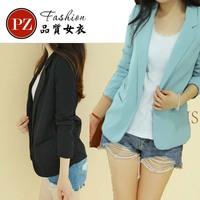 HOT Sale Fashion Slim Blazer Women Candy Colored Women Blazer Jacket None Button Lapel Long Sleeve Suit Blazer Woman tops