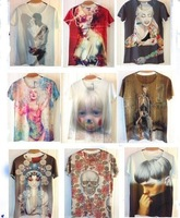 Sale!!2013 Fashion print space crown Galaxy T shirt Top Women/men short sleeve skull/flag Funny 3D t shirt Top Freeshipping