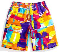 2014 gym shorts bright couple models swimwear hot sale good quality elastic waist beach Print loose casual breathable shorts