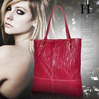 Large Size Top Quality New 2014 Women Leather Handbags Fashion Knitted Tote Women Handbag Genuine Leather Handbags Shoulder Bag