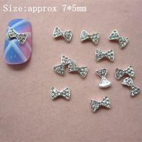 50pcs/bag Silver Mini Bow Tie Alloy 3D Clear Rhinestone Nail Art Slice DIY Decoration