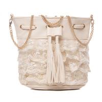 Embroidered lace handbag sweet gentle women princess beautiful laciness bucket bag beige