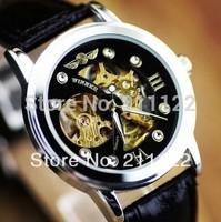 Swiss Design New Mens Automatic Mechanical Black  Man Leather Wrist Watch GIFT  winner  Mechanical watch