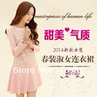 2014 spring one-piece dress sweet princess dress Summer flower gauze