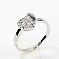 GNJ0298 2014 new arrival Free shipping Wholesale Fashion 925 sterling silver 9*7mm zircon heart ring for children