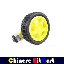 HOT SALE 2PCS latest version Smart Car Robot Rubber Tire Wheel 1:120 65mm + Strong magnetic dc TT gear motor suits  3V ~ 9V#RR05(China (Mainland))