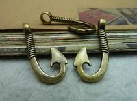 Min. order is $8(mix order) 30pcs 15*30mm Vintage Antique Bronze fish hook Charm Pendant  DIY Accessory Free Shipping C7039