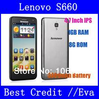 "Original Lenovo S660 S668T MTK6582 Quad Core 3G Smartphone 4.7"" IPS QHD Screen Android 4.2 WCMDA Dual Sim GPS 8.0MP Camera/Eva"