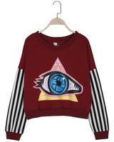 Free shipping!2014 spring and summer thin HARAJUKU big eyes print stripe long-sleeve short design pullover sweatshirt female