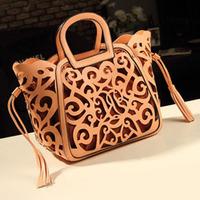 2014 fashion women leather handbags Classic Elegance hollow out handbag one shoulder bag messenger bag totes 3 colors