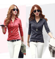 NEW 2014 fashion women girl casual clothing shirts t-shirts tops tee women blouse Pure color render  v-neck fashion slim shirt