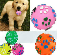 Free Shipping Dog footprints pet talking toys Color rubber resistant bite hollow ball dog toy, 7cm 4 color 45g 10pcs/lot