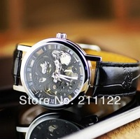 STEAMPUNK New Mens Swiss Design Men's Black Skeleton Man's Mechanical Watches leather strap watches