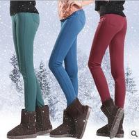 Free Shipping New 2014 Thick Velvet Candy Color Black Elastic Waist Pencil Pants  Cotton Fleece Winter Leggings Jeans 3833