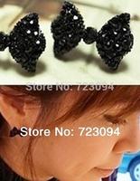 Min.order is $10 (mix order) Black bowknot Earrings stud earings RCN07