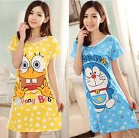 2014 New spongebob Women's Clothing Pajamas Summer Cotton Cartoon Print Casual Sweet Sleepwear Cute Girl's Nightgown NB837