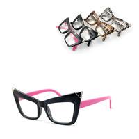 1pc free shipping 2014 creative new  fashion Metal corners cat-eye cateyes plain mirror women girl van fashion glasses lens