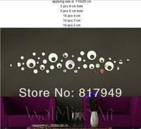 40PCS 3D Mirror Wall Sticker Home  decorative wall clock wall watche Modern design living room wall decor P074